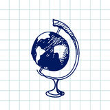 Hand drawn doodle globe. Blue pen outline, notebook background. Geography, school, education. Royalty Free Stock Photography