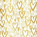 Hand Drawn Doodle Golden Hearts Valentine`s Day vector Seamless Pattern. Modern Graffity Cutout Silhouettes Background royalty free illustration