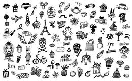 Hand drawn doodle graphic line elements, flowers and skulls, fruits and sweets. Etc stock illustration