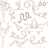 Hand drawn doodle gymnastics Seamless Pattern Royalty Free Stock Image