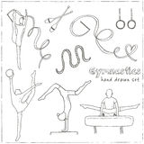 Hand drawn doodle gymnastics set Royalty Free Stock Images