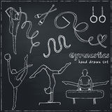 Hand drawn doodle gymnastics set Royalty Free Stock Photography