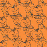 Hand drawn doodle Halloween pampkin. Black pen objects and color drawing. Design illustration for poster, flyer . Stock Photos