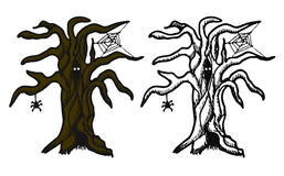 Hand drawn doodle Halloween tree. Black pen objects and color drawing. Design illustration for poster, flyer . Royalty Free Stock Photo