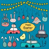 Hand Drawn Doodle Happy Easter Day Vector Set. Handmade Vector Illustration. Hand Drawn Doodle Happy Easter Day Vector Set. Doodle Funny Set. Handmade Vector Royalty Free Stock Photography