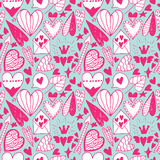 Hand drawn doodle heart seamless pattern Royalty Free Stock Photos