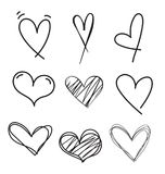 Hand drawn doodle heart vector set.Rough marker hearts isolated on white background. Outline vector heart collection. Categories: vector illustration