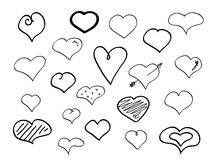 Hand-drawn doodle hearts Royalty Free Stock Images