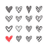 Hand drawn doodle hearts with different pattern icon set Royalty Free Stock Photo