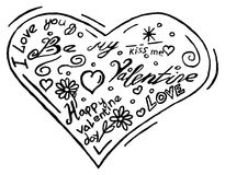 Hand drawn doodle hearts on a white background. Vector illustration Stock Images