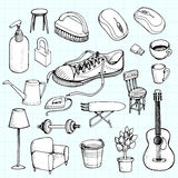 Hand drawn doodle of home appliances icons. Stock Image