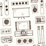 Hand drawn doodle home cinema seamless pattern Stock Photo