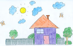 Hand drawn doodle house Royalty Free Stock Images