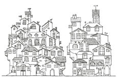 Hand drawn doodle houses. Royalty Free Stock Image