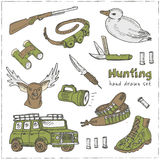 Hand drawn doodle hunting set. Sketchy hunt related icons, hunting elements, gun, crossbow, hunting wear cloths, boots, duck, bino Royalty Free Stock Photography