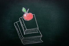 Hand Drawn Doodle Illustration with Chalk on Blackboard of Stack Pile of Books Red Glossy Apple on Top. Back to School Education vector illustration