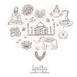 Hand drawn doodle India symbols set. Stock Photos