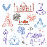 Hand drawn doodle India symbols set. Royalty Free Stock Photography