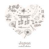 Hand drawn doodle Japan symbols set. Royalty Free Stock Photo