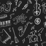 Hand drawn doodle jazz set. Hand drawn doodle jazz seamless pattern Vector illustration. Symbol collection Stock Image