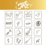 Hand drawn doodle jazz set. Vector illustration.  elements on white background. Symbol collection Royalty Free Stock Photo