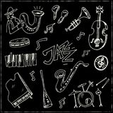 Hand drawn doodle jazz set. Vector illustration. Isolated elements on chalkboard background. Symbol collection Royalty Free Stock Images