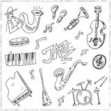 Hand drawn doodle jazz set. Vector illustration. Isolated elements on white background. Symbol collection Royalty Free Stock Photo