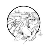 Hand drawn doodle landscape with farm, fields, tractor, hen,.  Stock Photos