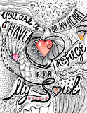 Hand drawn doodle letterind: You are a haven for my heart, a refuge for my soul. Illustration for Valentine Day in zentangle style. Ink sketch and colorful Stock Image