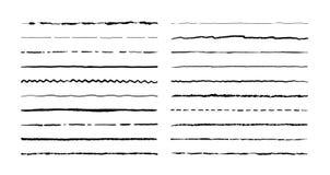 Hand drawn doodle lines. Pencil stroke underline sketch, pen grunge border set, cartoon frame elements. Vector doodle. Brush set royalty free illustration