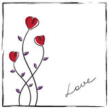 Hand-drawn doodle love card royalty free illustration