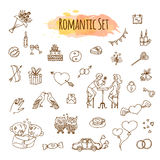 Hand Drawn Doodle Love and Romantic Illustrations. Vector Sketchy Wedding Icons. Royalty Free Stock Photo