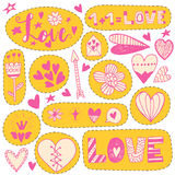 Hand drawn doodle love stickers Stock Image