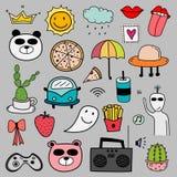 Hand Drawn Doodle Lovely Vector Set. Doodle Funny Set. Handmade Vector Illustration Stock Image