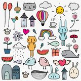 Hand Drawn Doodle Lovely Vector Set For Kid. Vector Illustration Royalty Free Stock Photos