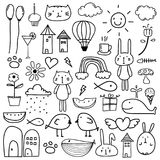 Hand Drawn Doodle Lovely Vector Set For Kid. Vector Illustration Royalty Free Stock Photography