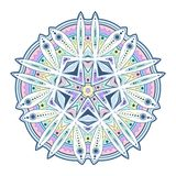 Hand drawn doodle mandala in vector format. Vector hand drawn doodle mandala. Ethnic mandala with colourful tribal ornament. Isolated. Pastel colors in Vector vector illustration