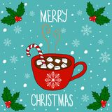 Hand Drawn Doodle Merry Christmas Card. Lettering. Red Mug with Hot Chocolate Cocoa Marshmallows Candy Cane Stick White Snowflakes. Baby Blue Background Stock Photo