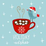 Hand Drawn Doodle Merry Christmas Card. Red Mug with Hot Chocolate Cocoa Marshmallows Kawaii Bird in Santa Claus Hat. White Stars Snow Flakes Baby Blue Royalty Free Stock Photo