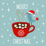 Hand Drawn Doodle Merry Christmas Card. Red Mug with Hot Chocolate Cocoa Marshmallows Kawaii Bird in Santa Claus Hat. White Stars. Snow Flakes Baby Blue Royalty Free Stock Photography