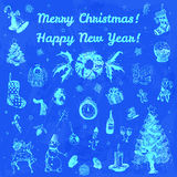 Hand drawn doodle Merry Christmas and Happy New Year illustration. Blue images, indigo watercolor background. Royalty Free Stock Photos