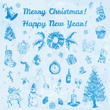 Hand drawn doodle Merry Christmas and Happy New Year illustration. Blue images, pale blue watercolor background. Royalty Free Stock Photo