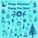 Hand drawn doodle Merry Christmas and Happy New Year illustration. Indigo images, blue watercolor background. Royalty Free Stock Photography