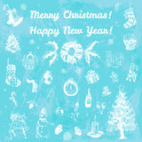 Hand drawn doodle Merry Christmas and Happy New Year illustration. White images, blue watercolor background. Royalty Free Stock Photography