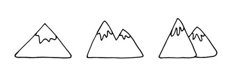 Free Hand Drawn Doodle Mountain. Simple Thick Black Line. Mountain With A Glacier On Top. Best For Design Stock Photography - 173716662