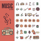 Hand drawn,doodle music icon set. Eps10 vector Royalty Free Stock Images