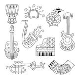 Hand drawn doodle musical instruments set. Stock Photo