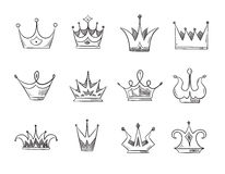 Hand drawn doodle nobility queens crowns vector set Stock Photography