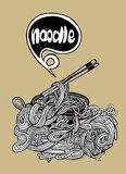Hand drawn doodle Noodle background Royalty Free Stock Images