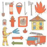 Hand drawn doodle objects collection that fireman needs. Fire objects set including bucket with water, alert button, house in fire, fire character, fire car Stock Photo